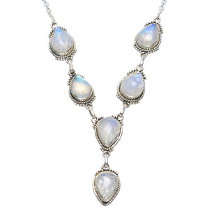 "Natural Rainbow Moonstone Handmade Unique 925 Sterling Silver Necklace 18-18.5"" B4321"