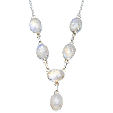 Natural Rainbow Moonstone Handmade Unique 925 Sterling Silver Necklace 17.5-18.5