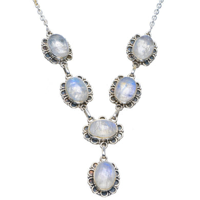 Natural Rainbow Moonstone Handmade Unique 925 Sterling Silver Necklace 17.5-17.75