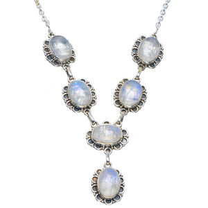 "Natural Rainbow Moonstone Handmade Unique 925 Sterling Silver Necklace 17.5-17.75"" B4325"