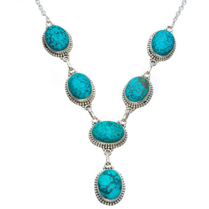 "Natural Turquoise Handmade Unique 925 Sterling Silver Necklace 18.5-19"" B4329"