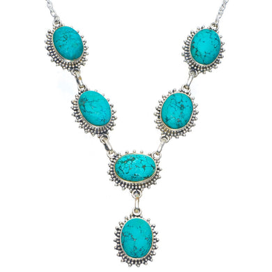 Natural Turquoise Handmade Unique 925 Sterling Silver Necklace 18.5-19