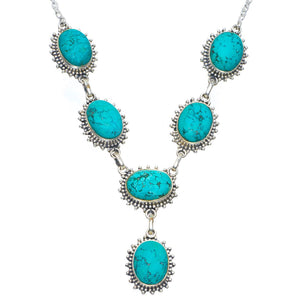 "Natural Turquoise Handmade Unique 925 Sterling Silver Necklace 18.5-19"" B4330"