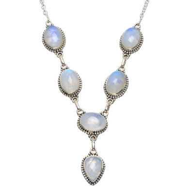 Natural Rainbow Moonstone Handmade Unique 925 Sterling Silver Necklace 18-18.5