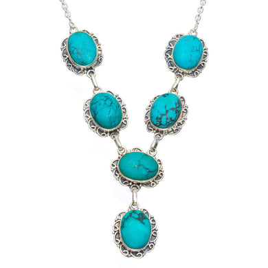 Natural Turquoise Handmade Unique 925 Sterling Silver Necklace 18-18.5