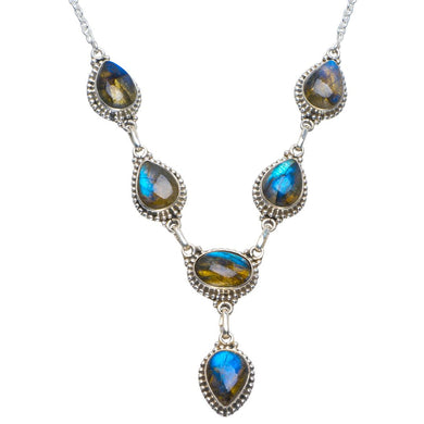 Natural Blue Fire Labradorite Handmade Unique 925 Sterling Silver Necklace 18.5-19