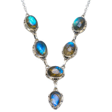 Natural Blue Fire Labradorite Handmade Unique 925 Sterling Silver Necklace 18-18.25