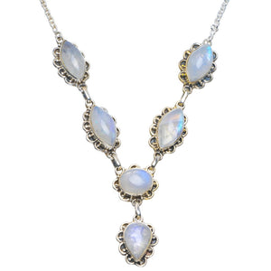 "Natural Rainbow Moonstone Handmade Unique 925 Sterling Silver Necklace 18-18.5"" B4339"