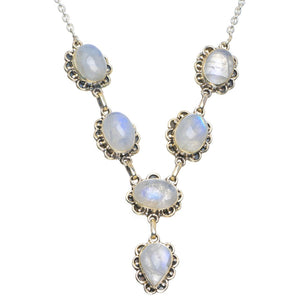 "Natural Rainbow Moonstone Handmade Unique 925 Sterling Silver Necklace 18-18.5"" B4340"