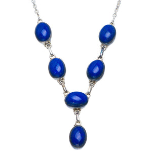 "Natural Lapis Lazuli Handmade Unique 925 Sterling Silver Necklace 17-17.5"" B4341"