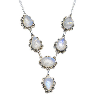 Natural Rainbow Moonstone Handmade Unique 925 Sterling Silver Necklace 17.5-18