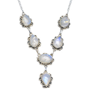 "Natural Rainbow Moonstone Handmade Unique 925 Sterling Silver Necklace 17.5-18"" B4342"