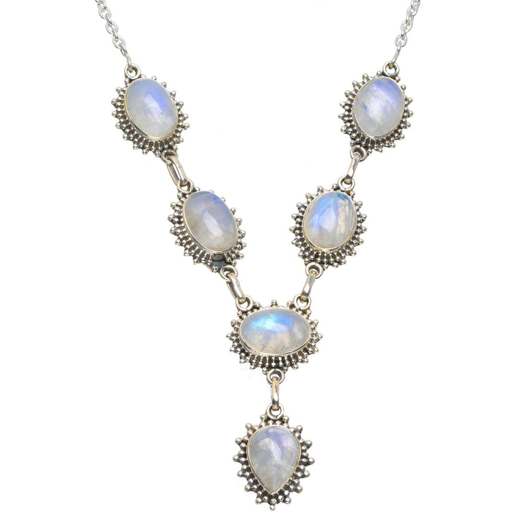 Natural Rainbow Moonstone Handmade Unique 925 Sterling Silver Necklace 18-18.75