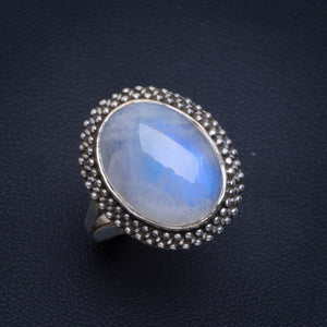 Natural Rainbow Moonstone Handmade Unique 925 Sterling Silver Ring 7.25 B1016