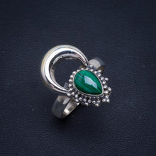 Natural Malachite Handmade Unique New Moon 925 Sterling Silver Ring 8.25 B1084