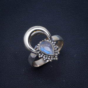 Natural Rainbow Moonstone Handmade Unique 925 Sterling Silver Ring 8.75 B1091