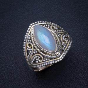 Natural Rainbow Moonstone Handmade Unique 925 Sterling Silver Ring 8.75 B1170