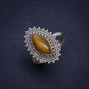 Natural Tiger Eye Handmade Unique 925 Sterling Silver Ring 8.25 B1206