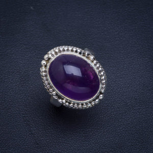 Natural Amethyst Handmade Unique 925 Sterling Silver Ring 6.5 B1213