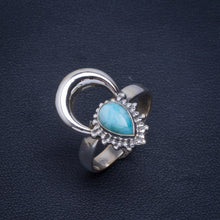 Natural Caribbean Larimar Handmade Unique 925 Sterling Silver Ring 8.75 B1219