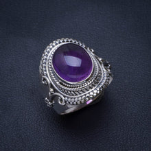 Natural Amethyst Handmade Unique 925 Sterling Silver Ring 8 B1535