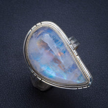 Natural Rainbow Moonstone Handmade Unique 925 Sterling Silver Ring 7.25 B1795