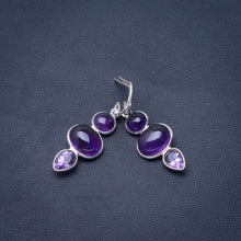 "Natural Amethyst Handmade Unique 925 Sterling Silver Earrings 1.5"" B2174"