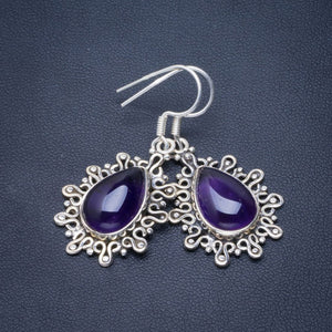 "Natural Amethyst Handmade Unique 925 Sterling Silver Earrings 1.75"" B2292"