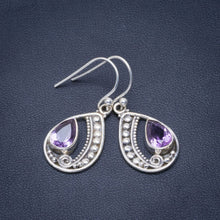 "Natural Amethyst Handmade Unique 925 Sterling Silver Earrings 1.5"" B2465"