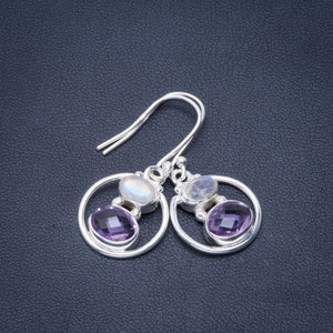 "Natural Amethyst and Rainbow Moonstone Handmade Unique 925 Sterling Silver Earrings 1.25"" B2472"