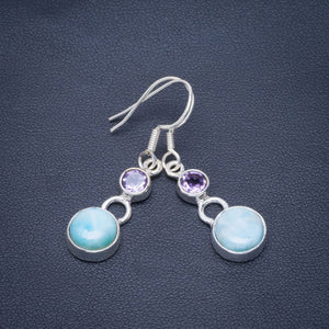 "Natural Caribbean Larimar and Amethyst Handmade Unique 925 Sterling Silver Earrings 1.5"" B2526"