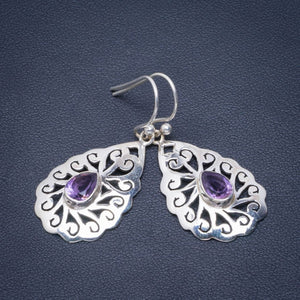 "Natural Amethyst Handmade Unique 925 Sterling Silver Earrings 1.5"" B2542"