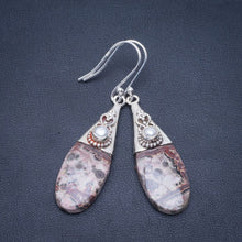 "Natural Leopard Skin Jasper and River Pearl Handmade Unique 925 Sterling Silver Earrings 2"" B2673"