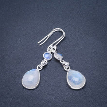 "Natural Rainbow Moonstone Handmade Unique 925 Sterling Silver Earrings 2"" B2718"