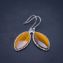 "Natural Tiger Eye Handmade Unique 925 Sterling Silver Earrings 1.75"" B2775"