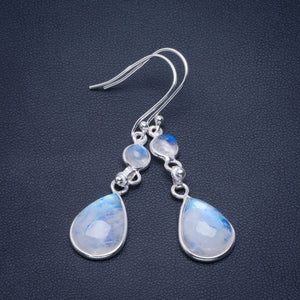 "Natural Rainbow Moonstone Handmade Unique 925 Sterling Silver Earrings 2"" B2790"