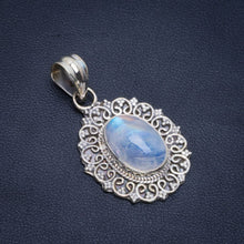 "Natural Rainbow Moonstone Handmade Unique 925 Sterling Silver Pendant 1.5"" B3306"