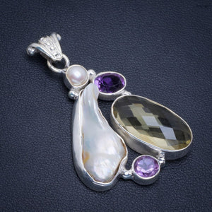 "Natural Biwa Pearl,Citrine and Amethyst Handmade Unique 925 Sterling Silver Pendant 1.75"" B3335"