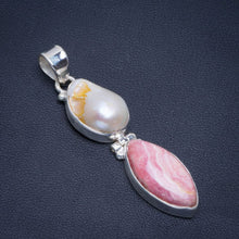 "Natural Rhodochrosite and Biwa Pearl Handmade Unique 925 Sterling Silver Pendant 2"" B3350"