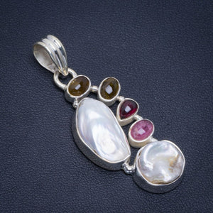"Natural Biwa Pearl,Blue Fire Labradorite and Amethyst 925 Sterling Silver Pendant 2"" B3384"