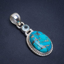 "Natural Copper Turquoise and Blue Toapz Handmade Unique 925 Sterling Silver Pendant 1.5"" B3543"