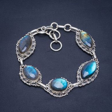 Natural Blue Fire Labradorite Handmade Unique 925 Sterling Silver Bracelet 7-8