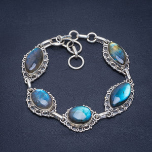 "Natural Blue Fire Labradorite Handmade Unique 925 Sterling Silver Bracelet 7-8"" B4230"