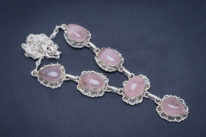 "Natural Rose Quartz Handmade Unique 925 Sterling Silver Necklace 17.5-18"" B4344"
