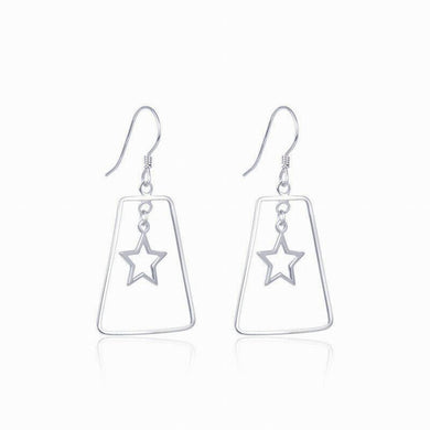 Natural 925 Silver Drop Earrings Geometric Shape with Hollow Stars 1.5