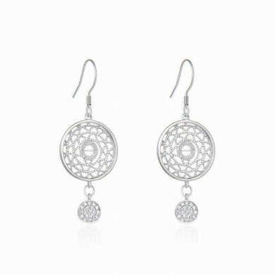 Natural 925 Sterling Silver Zircon Round Shape Dreamcatcher Earrings 1.5