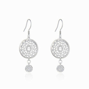 "Natural 925 Sterling Silver Zircon Round Shape Dreamcatcher Earrings 1.5"" C0007"