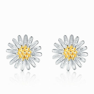 Natural 18K Daisy 925 Sterling Silver Earrings 0.3