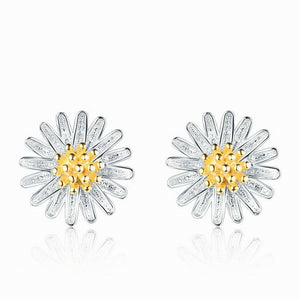 "Natural 18K Daisy 925 Sterling Silver Earrings 0.3"" C0045"