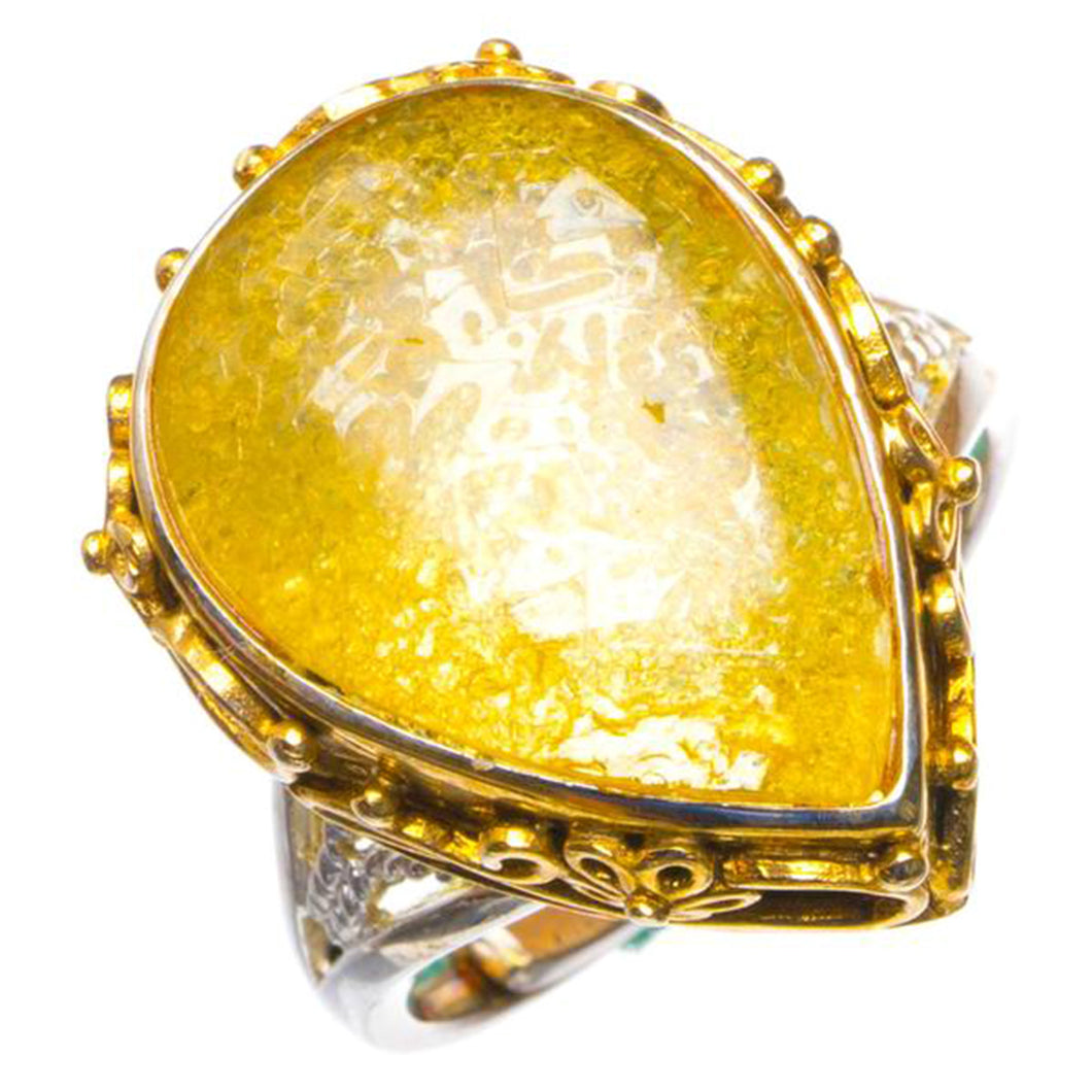 Natural Amber 14K Gold Plated Opening Handmade 925 Sterling Silver Ring 9.25 D1367